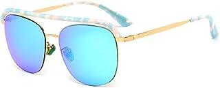 Fashion Light Hand-Built UV400 Brown Blue Pink Plate Ladies Fashion Trend Full Frame Sunglasses Retro (Color : Blue)