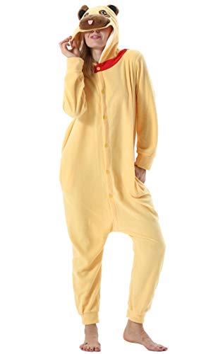 Damen Herren Jumpsuit Onesie Tier Fasching Halloween Kostüm Lounge Sleepsuit Cosplay Overall Pyjama Schlafanzug Erwachsene Unisex Gelb Mops for Höhe 140-187CM