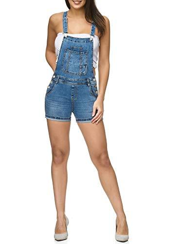 ArizonaShopping Damen Latz Shorts Latz Shorts Kurze Latzhose Hot Pants Skinny D2250, Farben:Dunkelblau-Variante 3, Größe:36