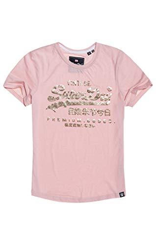 Superdry Damen Premium Goods Puff Foil Infill Entry Tee T-Shirt, Rosa (Lotus Marl L2u), Large (Herstellergröße: 14)