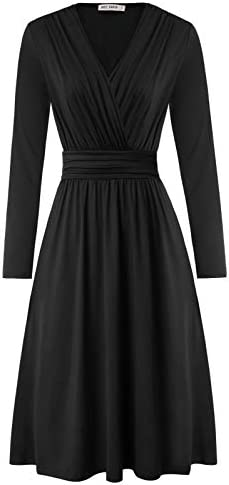 GRACE KARIN Women s Long Sleeve V Neck Wrap Waist Casual Party Midi Dress with Pockets Black product image
