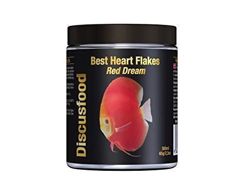 Best Heart Flakes Red Dream Premium Fischfutter, Flockenfutter, Rinderprotein als Flocke, mit Vitaminen und Mineralien,alle Zierfisch, speziell auch für Diskus oder Welse, unterstützt rote Farben