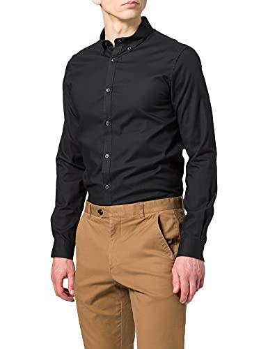 Springfield Camisa Pinpoint Stretch, Negro, S para Hombre