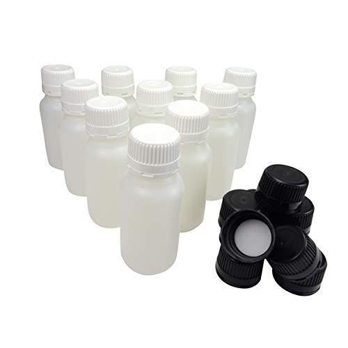 KENZIUM - Pack de 10 Botellas de Laboratorio + 10 Tapones Blancos + 10 Negros, para Muestras de 250 ml | de Cuello Ancho, de Plástico HDPE