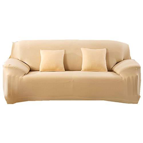 HUNOL Funda elástica para sofá, de elastano, suave, antideslizante, 1 pieza, lavable, con parte inferior elástica, para niños, mascotas, color beige