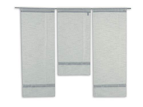 Decocompany Home Mini Flächenvorhang Set grau 4015-11 | 3 Teile | Scheibengardine Gesamtbreite 90cm (3x30cm) Höhe 80/60/80cm