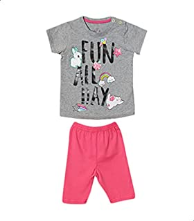 Jockey Short-Sleeve Snap-Closure T-shirt with Elastic-Waist Pants Pajama Set for Girls - Grey and Fuchsia, 18-24 Months
