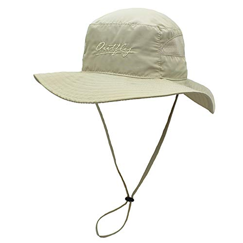 Ala ancha, borde suave, de secado rápido pescador sombrero, anti-ultravioleta Pesca Cap, al aire libre Senderismo Sombrero de sol, respirable, Delgado, hombres y mujeres de ala grande,Caqui