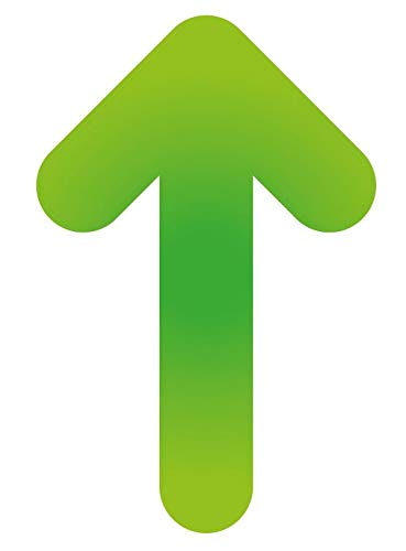 Pack 15 ud. Pegatina suelo Flecha Antideslizante para Indicación recorrido seguridad- Medidas 19,3 x 30 cm / 7,60 x 11,81 in