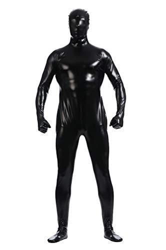Yuanu Unisexe Couleur Unie Coating Adhesive Zentai Combinaison Intégrale, Cosplay Scène Performance Seconde Peau Costume Noir S