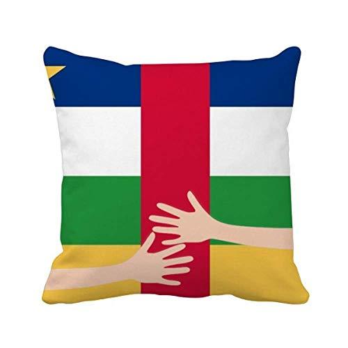Kissenbezug mit der Flagge der Zentralafrikanischen Republik Afrika Umarmung quadratisch