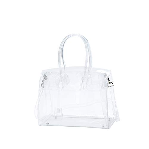Beautiful and stylish clear handbag, fashion look for streetwise, beach activities and sporting events Coming with the designer lock closure(* For more goods picture please check its reviews.). This bag holds its shape due to its quality materials an...