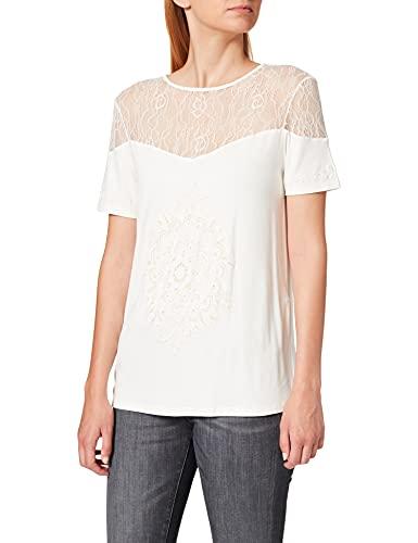 Desigual Damen Short Sleeve Cannes Woman White T-Shirt, Weiß (Egret 1031), Medium
