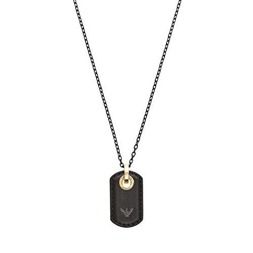 Emporio Armani Herren-Halskette Edelstahl Leder Schwarz EGS2706710
