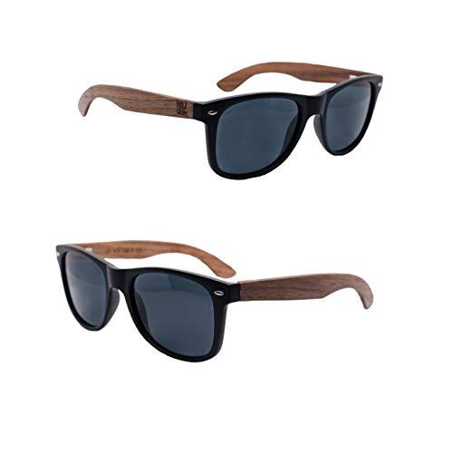 Holzwurm Sonnenbrille mit Holzbügeln aus Walnuss für Damen & Herren/Polarisierende Brillengläser mit UV400-Schutz/mit Brillenetui, Schwarz / Walnuss, schwarz