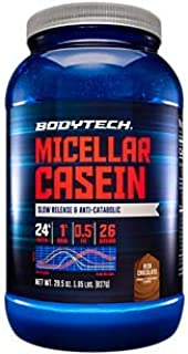 BodyTech Micellar Casein Protein Powder, Slow Release for Overnight Muscle Recovery 24 Grams of Protein per Serving Rich C...
