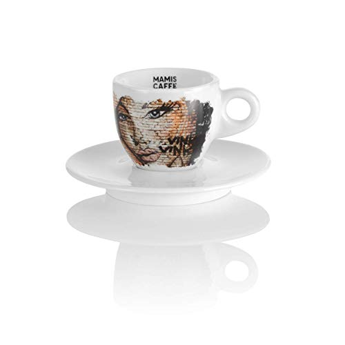 Mamis café Elena Espresso Taza de porcelana blanca con motivo 65 ml