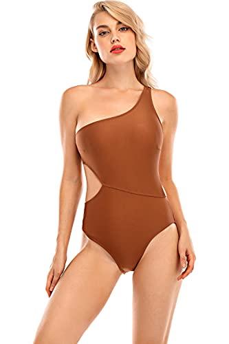 UMIPUBO Bikini Intero Donna Costume da Bagno Costumi Interi Sexy Swimsuit One Piece Push up Monokini Una Spalla Coordinati Beachwear, Marrone, XXL