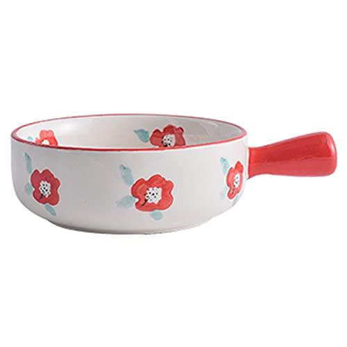 Cuenco para hornear de cerámica con asa, ensalada de frutas microondas para hornear tazón para hornear (Color : E, Size : 570ml)