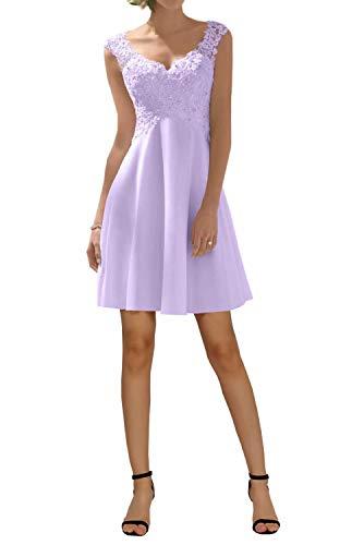 Hotkleider Damen Elegant Spitze V-Ausschnitt A-Linie ChiffonLang Abendkleider Party Prom Abschlussball Brautjungfernkleider-38-Flieder Kurz