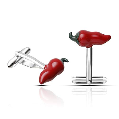 JWGD Novedad Pimienta de Chile Rojo Gemelos de Hombre Camisas uñas Cuff CREA joyería Gemelos Moda Hombre Marca (Metal Color : Hot Pepper)