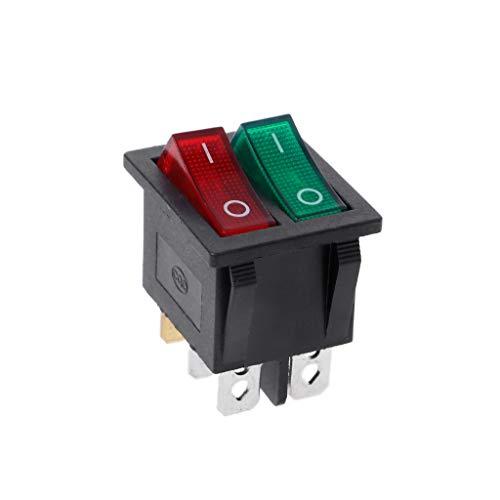 Lamdoo Newesoutorry Interruptor basculante de Doble Barco Botón de Encendido y Apagado de 6 Pines con luz Verde roja 20A 125V AC