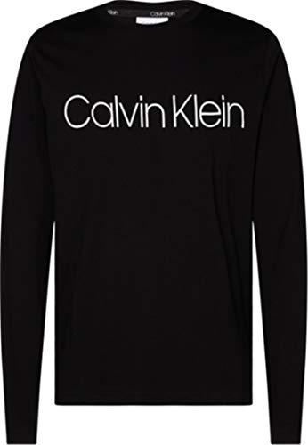Calvin Klein Herren Cotton Logo Long Sleeve T-Shirt, Calvin Black, M