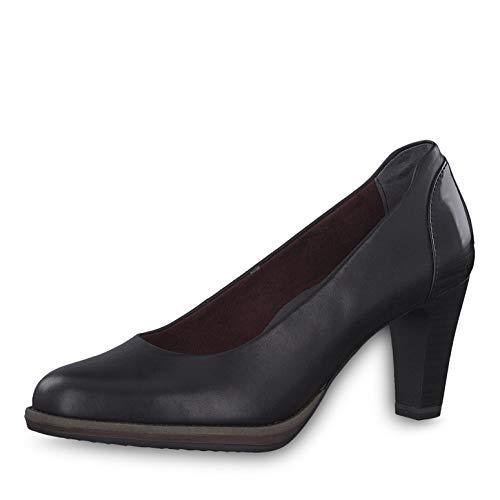 Tamaris Damen Pumps 22425-23, Frauen KlassischePumps, leger Court-Shoes Absatzschuhe Abendschuhe stöckelschuhe Damen,Black Leather,38 EU / 5 UK