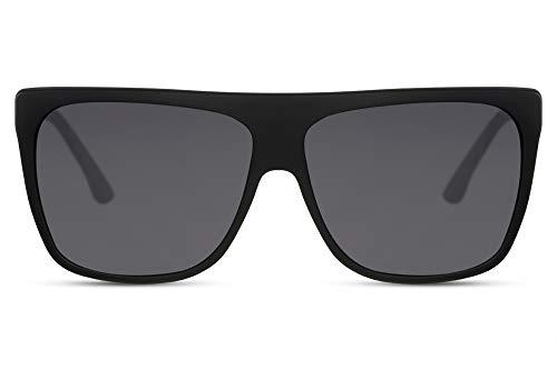 Cheapass Gafas de Sol Parte Superior Lisa Montura Mate Negra y Cristales Oscuros Grandes XXL UV400 Gafas de Diseñador Mujeres Doradas Metálicas Temples