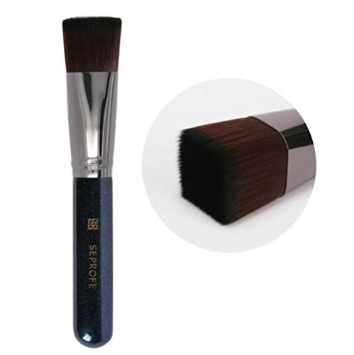 Heng Foundation Pinceaux de Maquillage Tilt Tête Plate Métal Bois Bois Peinture poignée Correcteur Pinceau Maquillage Outils, Bleu Plat