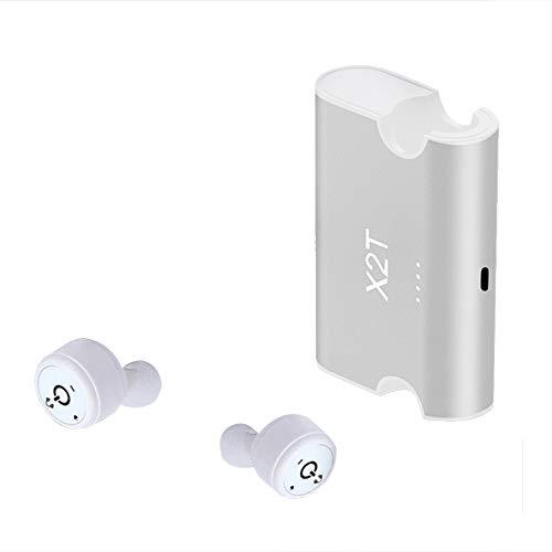 X2T Auriculares Bluetooth Auriculares inalámbricos Auriculares intrauditivos Auriculares Auriculares con estuche de carga para gimnasio Deportes de entrenamiento, Blanco