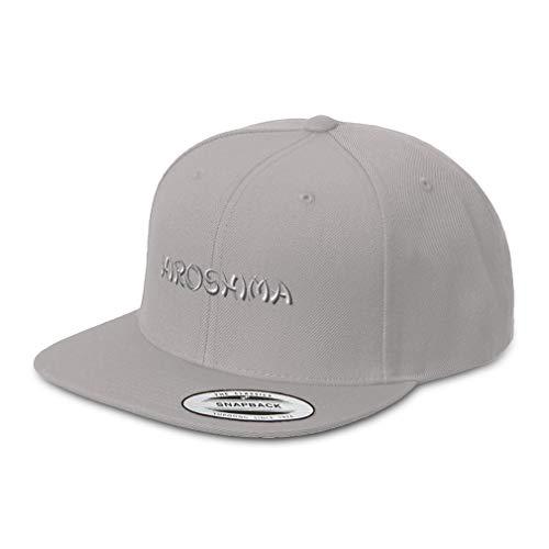 Speedy Pros Snapback Hats for Men & Women Hiroshima Japan Embroidery Acrylic Flat Bill Baseball Cap Silver Design Only