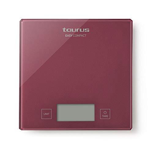 Taurus Easy Báscula de Cocina, balanza Digital, diseño Compacto y Elegante, Superficie de Cristal, precisión 1 gramo, Rojo