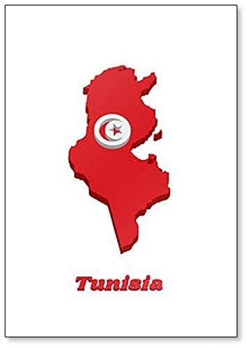 Kühlschrankmagnet, Motiv: Landkarte & Flagge von Tunesien