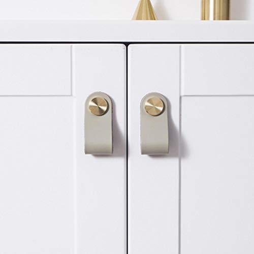 Knauf aus Leder, Messing, einfache Schrankgriffe, nordische Schubladengriffe, Möbelgriffe für Küchenschränke, 10 Farben