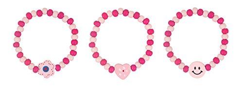 HENBRANDT 24x Rosa Ragazze Perline di Legno Braccialetti - Riempitrici per Borse da Party / Premi in Classe / Giocattoli per Bambini / premi
