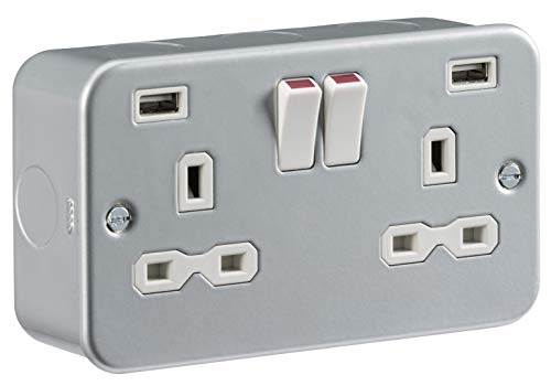 Knightsbridge Metal Clad 13A 2G Switched Socket with Dual USB Charger (2.4A) MR9224