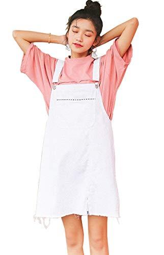 Vestido Vaquero Mujer Elegantes Cortos Verano Moda Ajustable Straps Vestido Ropa de Fiesta Mini Vestido Vintage Casual Anchas con Bolsillos Vestidos De Verano Vestido Playa