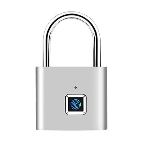 CNLOYUA Smart Schloss Fingerprint, Zahlenschlösser, Fingerabdruck Vorhängeschloss,Vorhängeschlösser Lock, USB-Aufladung Metall Diebstahlsicherung Home Secure Safety Padlock Schlüsselloses Schloss