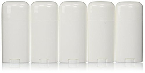 Deodorant Container Oval Empty 2.65oz/30ml - Twist-Up Refillable Plastic Tube for DIY Deodorants, Pack of (5) by Yellow Brick Road
