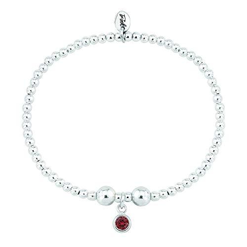 Trink Brand Sterling Silver Beaded Birthstone Bracelet for January Garnet CZ