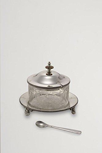 ROYAL QUEEN Zuccheriera con Cucchiaio Stile Liberty Argentato Argento Sheffield cod.565831 cm 13h diam.15 by Varotto & Co.