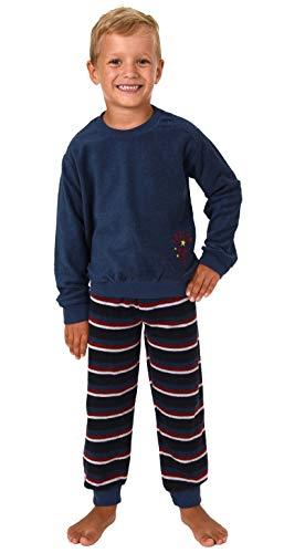 Jungen Frottee Pyjama Kleinkinder Schlafanzug mit Bündchen und Soccer - Fussball Motiv, Größe:98, Farbe:blau