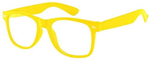 Boolavard® Nerd Sonnenbrille im Wayfarer Stil Retro Vintage Unisex Brille - 45 Modelle wählbar (Gelb Klar)