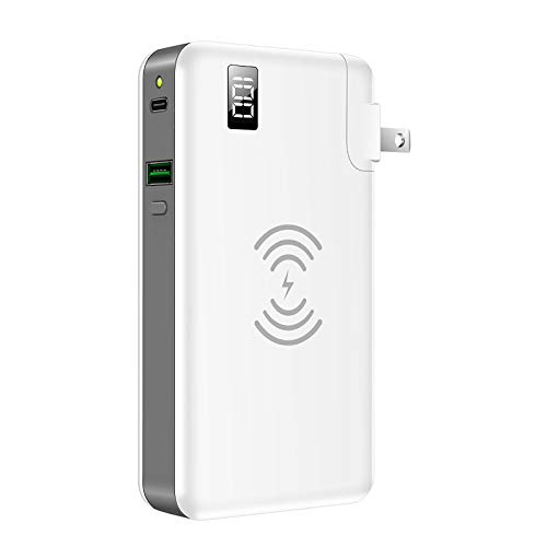 Wireless Mobile Power PD Fast Charger, 10000Mah Battery Pack 10WQ3 Single USB + 18WPD Type C Output, Can Be Used for Mobile Phones And Laptops(1 Pcs),White
