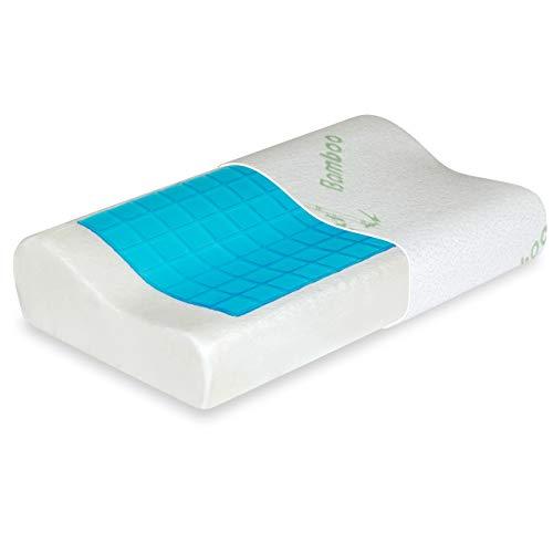 Vitabo Kopfkissen in Wellenform für erholsamen Schlaf | ergonomisches Nackenkissen Kissen aus Viscoschaum mit Viskose-Bezug aus Bambus-Faser und Gelauflage