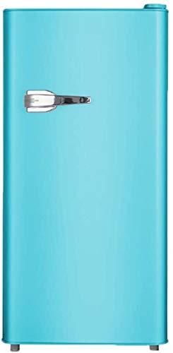 YZPDD Congelador de Doble Puerta Retro Compacto Mini refrigerador con asa y Ajustables pies for Dormitorio/Oficina/Dormitorio pequeño Almacenamiento de Bebidas, Color: Amarillo (Color : Azul)