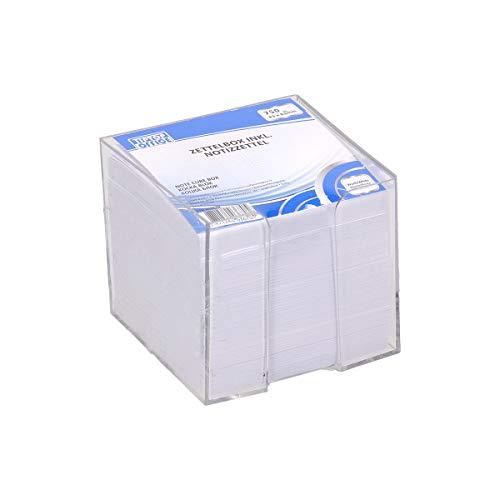 TIPTOP OFFICE Zettelbox gefüllt mit losen Notizzetteln 83x83x75mm, Weiß