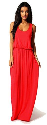 Mikos Damen-Kleid, Bodenlanges Maxikleid, ideal für Sommer und Urlaub, Boho-Style S M L 36 38 40 (369) (Rot, L/XL)