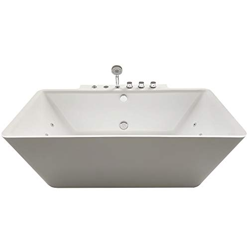 DKB Dylan Jetted Whirlpool Tub in White | Deep Soaking Comfort | Hydro- Massage System 14 Whirlpool Jets